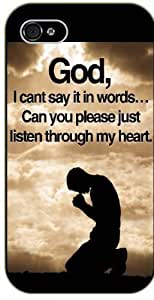 God, I can't say it in words... Can you please just listen through my heart - Bible verse For SamSung Note 2 Case Cover black plastic case / Christian Verses