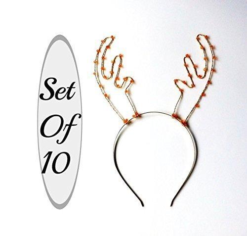 Set Of 10 Antler Headbands, Party Pack Of Ten Deer Ears, Silver And Orange Beaded Rudolf Hair Bands, Deer Antlers For Christmas Parties, Photo Booths & More by Scarlet Tiaras