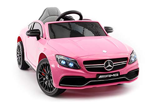 Moderno Kids Mercedes C63S 12V Power Children Ride-On Car with R/C Parental Remote + EVA Foam Rubber Wheels + Leather Seat + MP3 USB Music Player + LED Lights (Pink)