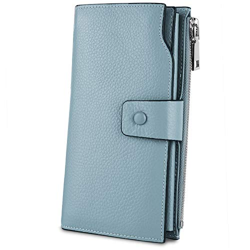 Gunmetal Leather Clutch - YALUXE Women's Genuine Leather RFID Blocking Large Capacity Luxury Clutch Wallet Card Holder Organizer Ladies Purse Wallets for women pebbled lake blue
