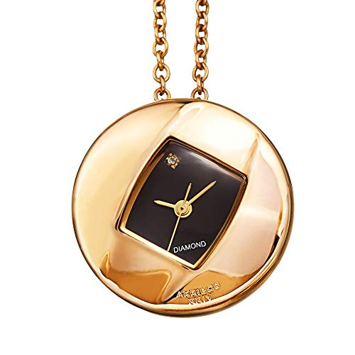 Akribos XXIV Women's Diamond Pendant Watch - Gold Plated Stainless Steel Chain Necklace with Elegant Stainless Steel Square Watch - AK1053YGB