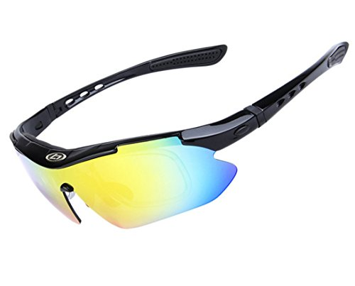 Wonzone Polarized UV Protection Sunglasses for Men Women Sports Glasses Cool Goggles with 5 Interchangeable Lens for Bicycling, Fishing, Golf, Driving, Skiing and All Outdoor Activities - Bicycling Glasses Sun
