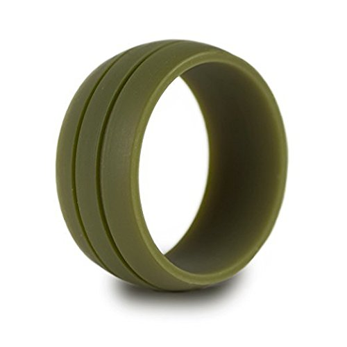 Ainiess Silicone Wedding Ring- Safe Wedding Band for Sports, Work, Gym, Military, First Responders.Recommended for Men Cool Design (Green Olive, 7)