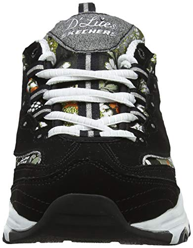 black Noir Skechers floral Bkw D'lites Femme Days White Baskets wazqSz6C