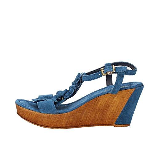 KEYS Sandalias mujer Coral / Azul / beige gamuza Azul