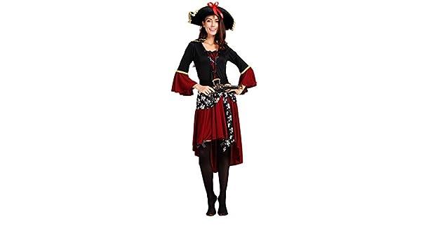 WXFO Disfraz de Pirata de Vestido Rojo de Dama Adulta, Disfraz de ...