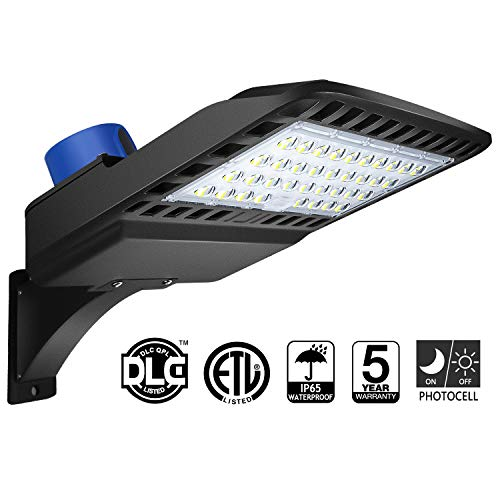 LED Parking Lot Lighting 150W - Dusk to Dawn With Photocell 5000K LED Shoebox Pole Light 19500lm Outdoor Commercial Lighting IP65 Slip Fit Mount for Large Area Street Parking Lot Lights