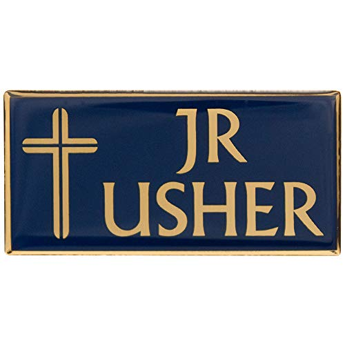 Junior Usher Badge Pin-Back for Church Blue Gold (Set of 2) (Junior Badge)