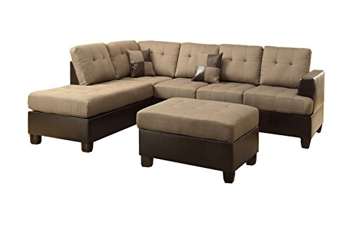 Poundex Bobkona Winden Blended Linen 3-Piece Reversible Sectional Sofa with Ottoman, Tan