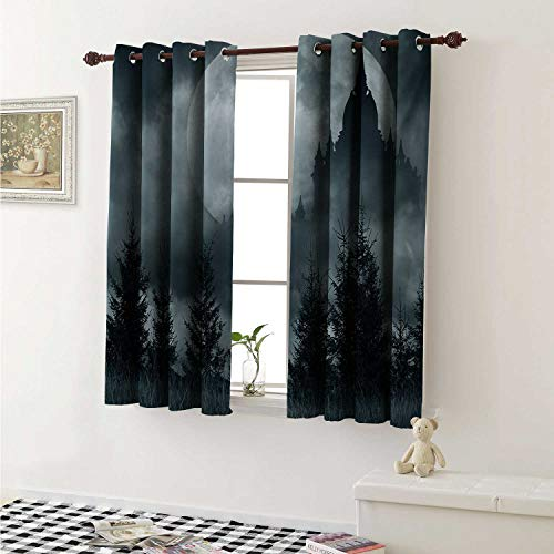 shenglv Halloween Room Darkening Wide Curtains Magic Castle Silhouette Over Full Moon Night Fantasy Landscape Scary Forest Window Curtain Drape W108 x L72 Inch Grey Pale Grey -