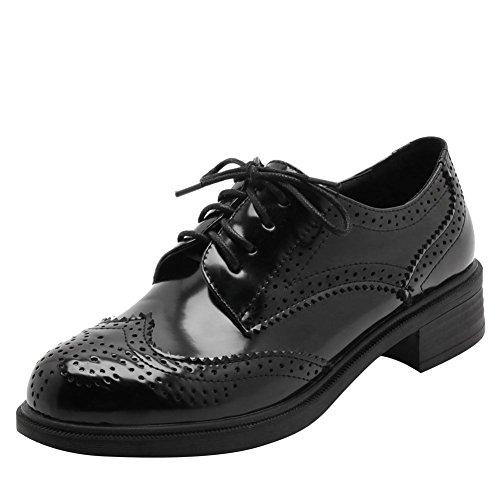 Carolbar Womens Lace Up En Cuir Verni Perlé Retro Bas Talon Oxfords Chaussures Noir