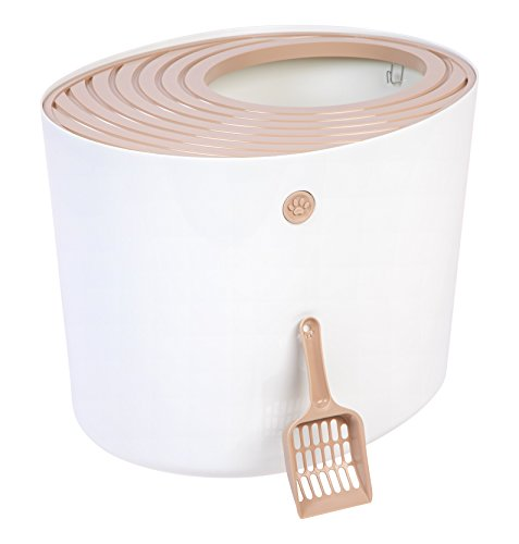 IRIS Top Entry Cat Litter Box with Cat Litter Scoop, White and Beige