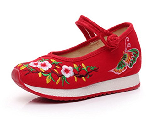 Soojun Girls Unique Embroidery Mary Jane Canvas Sneaker, 2 Little Kid, Red by Soojun (Image #1)