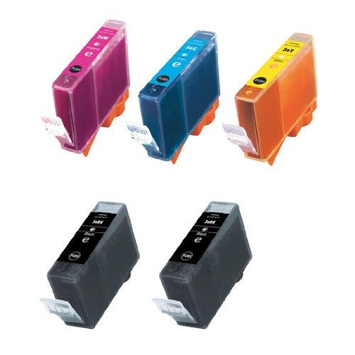 INKUTEN Replacement BCI-3 Set of 5 Cartridges: 2 Black (BCI-3eBk), 1 Cyan (BCI-3eC), 1 Magenta (BCI-3eM), 1 Yellow (Bci 3ey Set)