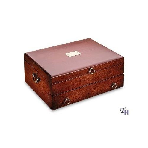 (Reed & Barton 44C Bristol Flatware Chest, 15 by 11.25 by 6-Inch, Cherry with Brown Lining)
