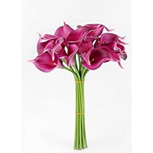 Angel Isabella, LLC 20pc Set of Keepsake Artificial Real Touch Calla Lily with Small Bloom Perfect for Making Bouquet, Boutonniere,Corsage (Fuchsia) 65
