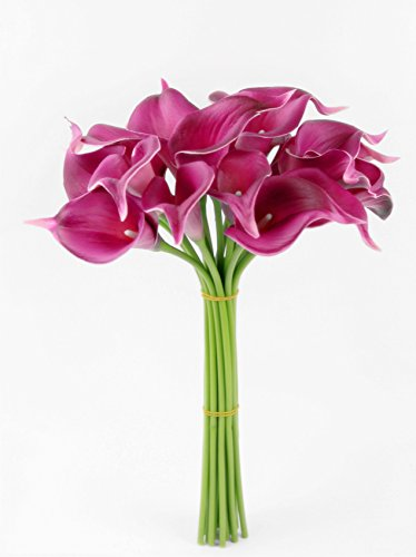 Angel Isabella, LLC 20pc Set of Keepsake Artificial Real Touch Calla Lily with Small Bloom Perfect for Making Bouquet, Boutonniere,Corsage (Fuchsia)