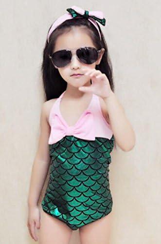 Girls One Piece Mermaid Bikini Set Swimwear Swimsuit Bathing Suit+Headband
