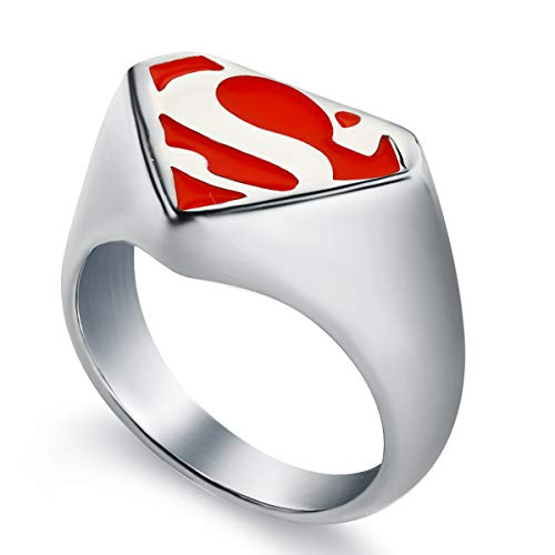 Valily Red Superman Ring for Men Women Stainless Steel Comic Con Jewelry Two Tone Superhero Biker Ring Gift for Him Size 8]()