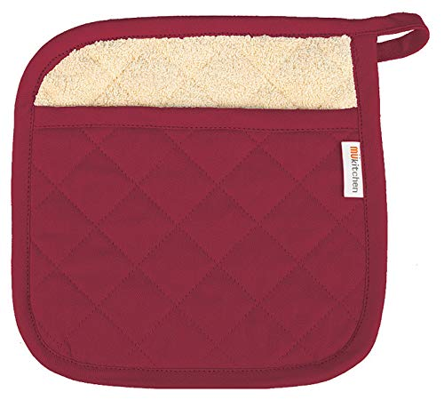 MU Kitchen 100% Quilted Cotton Pot Holder, 9-inch by 9-Inch, Cabernet - Mu Kitchen Cotton