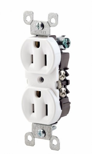 Leviton 12650-W 15 Amp, 125 Volt, Co/Alr Duplex Receptacle, Straight Blade, Residential Grade, Grounding, White - Residential Straight Blade