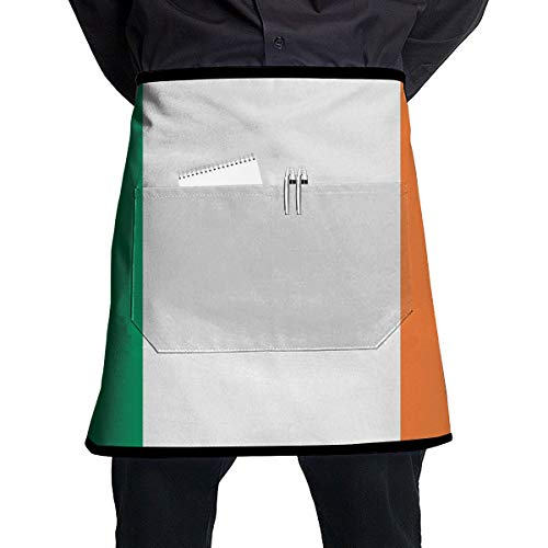 - ALLMYHOMEDECOR Striped Ireland Flag Waist Aprons Bib Mens Womens Adjustable Polyester Cooking Gardening BBQ Kitchen Chef Apron for Outdoor Serving Grill Restaurant Cleaning Baking Crafting