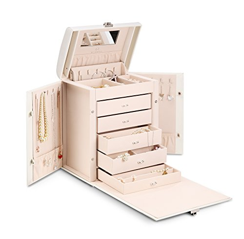 Vlando Deluxe Large Jewelry Box Storage Organizer, Fabulous Wedding Gift for Bride (White) (Chest 3 Drawer Mission)