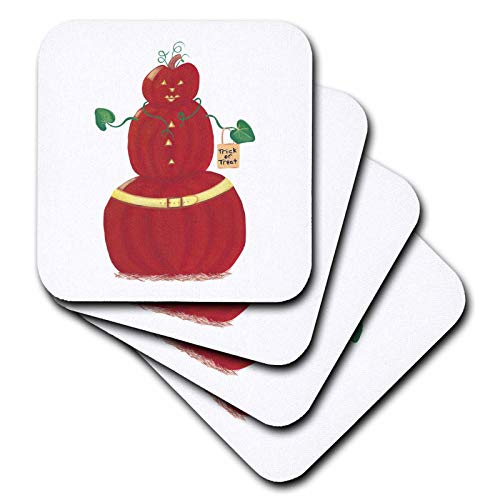 3dRose CherylsArt Holidays Halloween - Painting of a Pumpkin Person with Halloween Trick or Treat Bag - set of 8 Coasters - Soft (cst_311430_2)]()