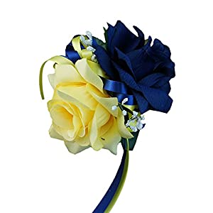 Angel Isabella Wrist Corsage - Navy Blue,yellow, Rose Baby Breath Silk Faux Flower 3