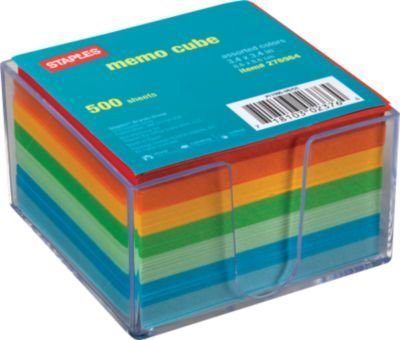 Staples Assorted Colors Cube Memo Pad 500 Sheets