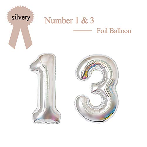 40 Inch Silver 13 Number Foil Balloon 13th Birthday Party Supplies Anniversary Events Graduation Decorations