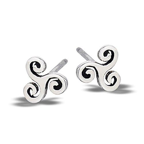 Triple Wave Celtic Cutout Triskelion Swirl .925 Sterling Silver High Polish Stud Earrings Triple Swirl Earrings