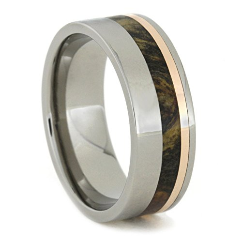 Buckeye Burl Wood and 14k Rose Gold 8mm Comfort-Fit Titanium Ring, Size 4.5 by The Men's Jewelry Store (Unisex Jewelry)