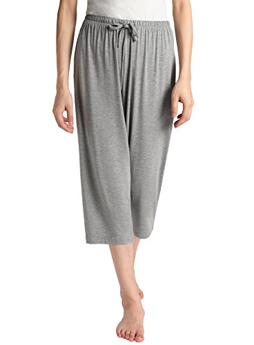 Latuza Women's Knit Capris Sleepwear M Light Gray