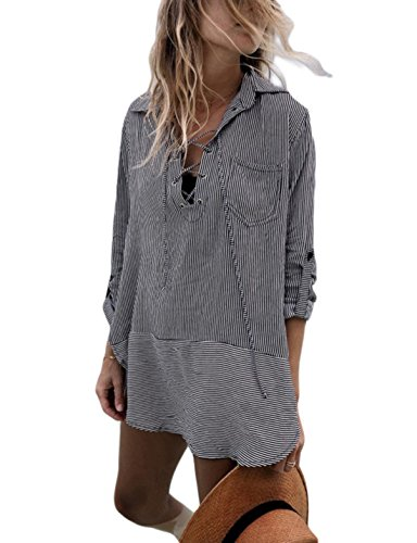 (Ailunsnika Striped V Neck Beachwear Blouse Cover Up Dress for Women Sexy Long Sleeve Gray Swimsuit Cover Ups with Pockets)