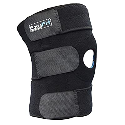EzyFit Knee Brace Support For Arthritis, ACL, LCL, MCL, Sports Exercise, Meniscus Tear Injury Recovery - Side Stabilizers Open Patella - Best Non-Slip Comfort Fit Adjustable Neoprene Wrap - 3 Sizes