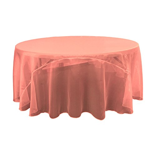LA Linen Sheer Mirror Organza Round Tablecloth, 120'', Coral by LA Linen