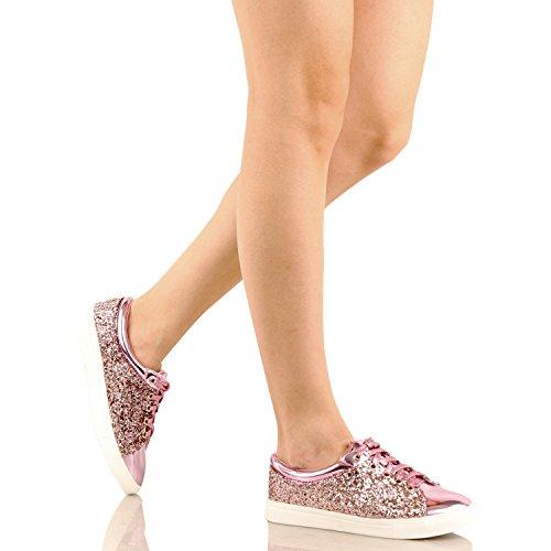 Guilty Schuhe Damenmode Glitter Metallic Schnürschuh Sparkle Slip On - Wedge Platform Sneaker Pinkv1 Glitter