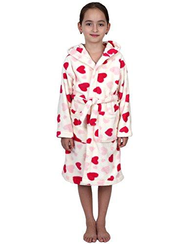 TowelSelections Big Girls' Robe, Kids Plush Hooded Fleece Bathrobe Size 12 Ivory Hearts - Heart Fleece Robe