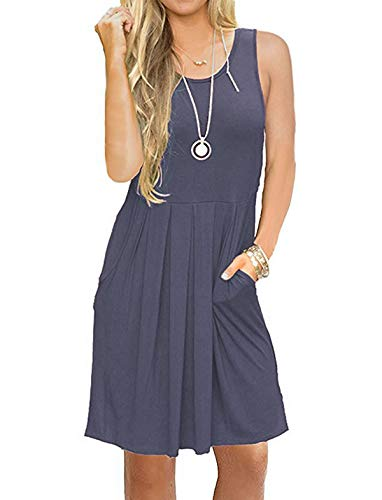 (HUALAIMEI Dress Shirts for Women Business Casual, Ladies Round Neck Sleeveless Midi Dresses Knee Length Summer Tanks Long Tunic with Pockets Daybreak M)