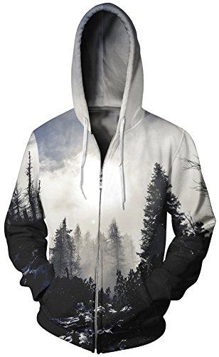 Imilan Men't Full Zip Hoodie Heavy Weight Sweatshirts Jacket Hooded Coat (Large/X-Large, Sunset 1)