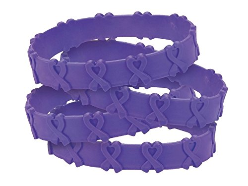 24 Purple Awareness Pop-Out Bracelets Pancreatic, Thyroid, Testicular Cancer, Alzheimer's, Animal Abuse Crohn's Disease, Colitis, Cystic Fibrosis, Lupus, Leimyosarcoma, Fibromyalgia, Domestic Violence, Add, Cancer (Cancer Awareness Thyroid Bracelet)