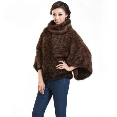 Women's Knitted Fur Coat with Real Mink Fur Pullover Full Sleeve Mandarin Collar (Brown) - Fur (Solid Genuine Leather Ladies Vest)