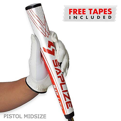 (SAPLIZE Golf Putter Grip, Sap Lit V2, Ergonomic Shape, Light, Anti-Slip Pattern, Mid Size, Red)