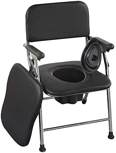 介護用ポータブルトイレ椅子 折りたたみ 簡易 便座 ポータブルトイレ折畳可背もたれ アームレスト付き 軽量 高さ調節可能 仮設トイレ 防災 介護用 福祉センター 多機能椅子 高齢者