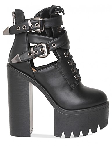 LAMODA Womens Extreme Platform Ankle Boots with Cut Out Detail in PU Black