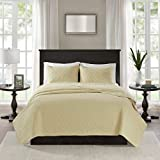 Queen Size Egg Shell Mattress 3 Piece 90 x 90 Extra Wide Eggshell Yellow Quilted Coverlet Full Queen Set, Oversized Bedding French Country Classic Stitched Lightweight Summer Drops Over Edge of Mattress, Microfiber Polyester