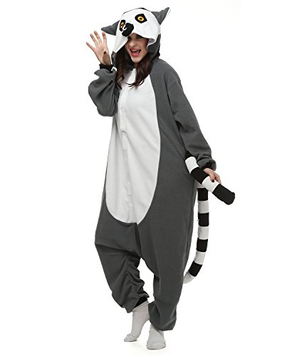 [Oneises Women Men's Animal Lemur Onesie Halloween Costume Pajamas Partywear Small] (Animal Halloween Costumes Men)