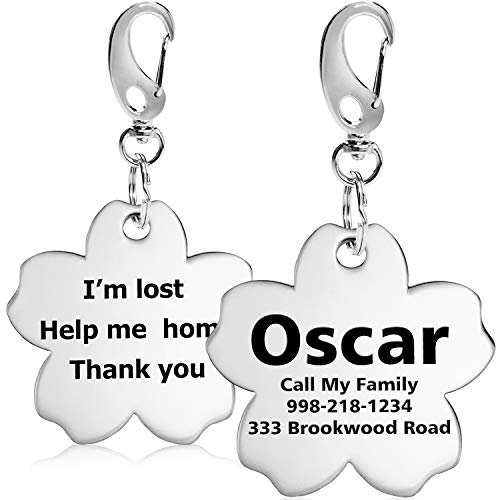 Personalized Stainless Steel Dog ID Tags, Custom Engraved, Up to 8 Lines of Text Front & Back, Laser Etched, Flower