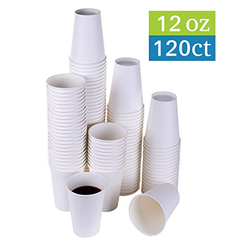 TashiBox 12 oz White Hot Drink Paper Cups - 120 Count - Disposable Paper Coffee Cups by TashiBox